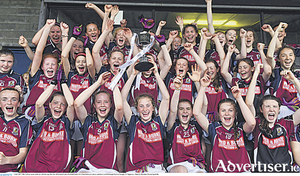 Galway celebrate success in the All Ireland Ladies Football U14 A final, overcoming Kerry at McDonagh Park in Nenagh, Co Tipperary.