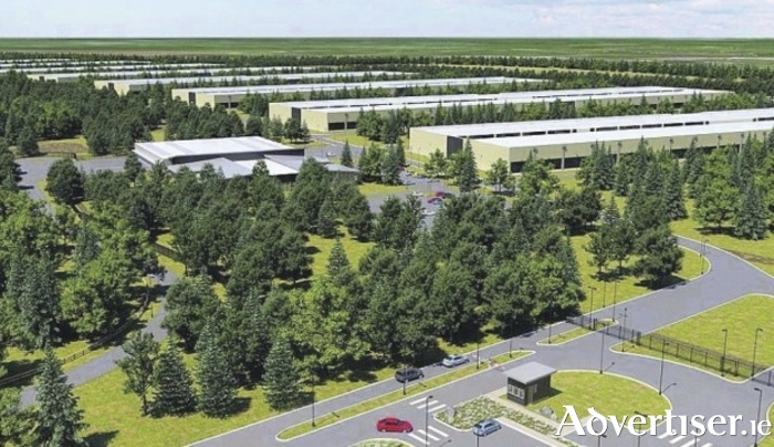 Artists impression of what the proposed Athenry Data Centre will look like when completed. However, supporters of the project are fearful the centre, and the jobs it will create, could now be lost.