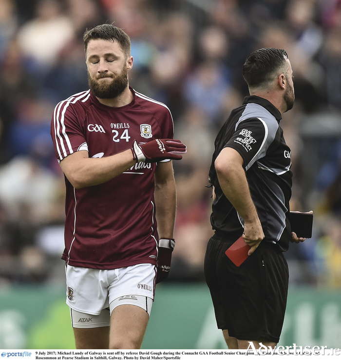 Michael Lundy of Galway is sent off by referee David Gough during the Connacht GAA Football Senior Championship final match between Galway and Roscommon at Pearse Stadium in Salthill, Galway. Photo by David Maher/Sportsfile
