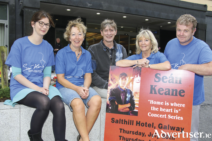 At the launch of 'Home Is Where The Heart Is', a series of three fundraising concerts by Seán Keane in the Salthill Hotel, were (l-r): Isabella DeLuca, Ability West; Mary Flanagan; Sean Keane; Ellie Keating, MS Ireland; and Peadar Brick, chairman Galway County Comhaltas. Photo: Mike Shaughnessy.