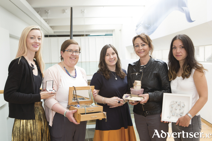 Pictured at the launch of the Creative Makers Galway pop-up shop, from left: Ciara O Neill, Resinart; Joanna Cronin of Peppermint; Caroline McDonagh, Local Enterprise Office Galway; Michele Chambers from Michele Chambers Ceramics; and Rachel Webb from Rachel Webb Ceramics. Creative Makers Galway is a group of established designer/makers who have either graduated or are currently undertaking the Design and Craft Council of Ireland's Building Craft and Design Enterprise programme, in conjunction with the LEO Galway (Galway Local Enterprise Office). Photo: Martina Regan.