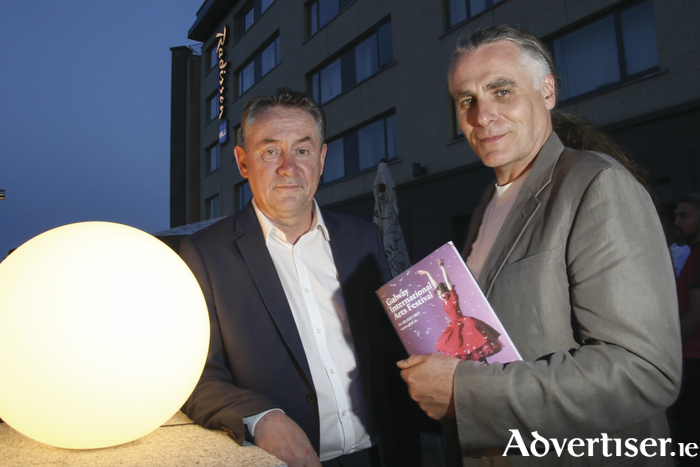 John Crumlish and Paul Fahy of at the opening of the Galway International Arts Festival at the Radisson Blu Hotel on Monday night. Photo:- Mike Shaughnessy