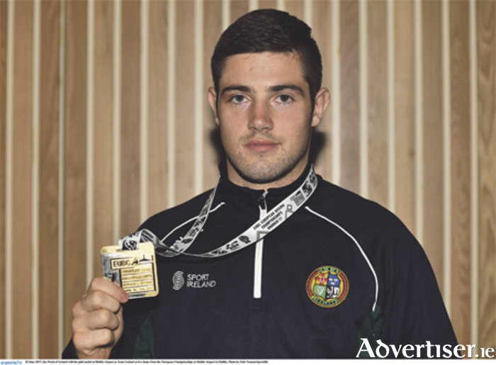 Joe Ward with his gold medal after the recent European Championships. Photo: Eoin Noonan/Sportsfile