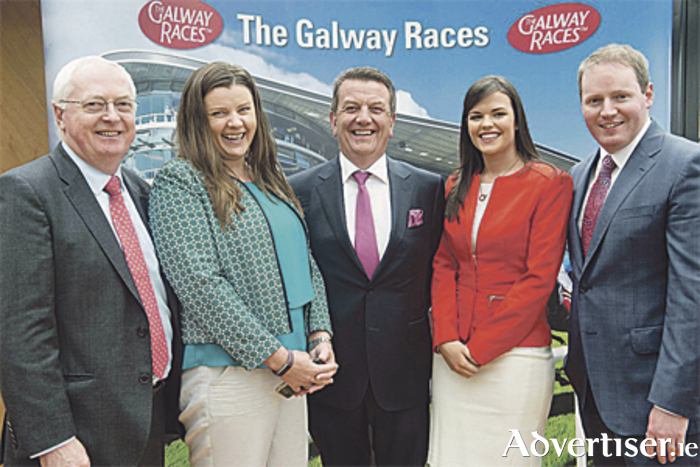 Peter Allen, chairman of Galway Races committee, Tina McNabola of Colm Quinn BMW, Niamh McEntee, and Michael Moloney, general manager of Galway Races, at the Galway Races Launch at the Marker Hotel, Dublin, recently
