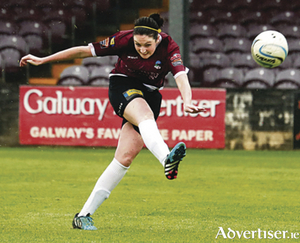Current Offaly Rose Jennifer Byrne clears for Galway Women's FC during her side's victory over Peamount United in Eamonn Deacy Park on Saturday evening. Photo by eirefoto.com.