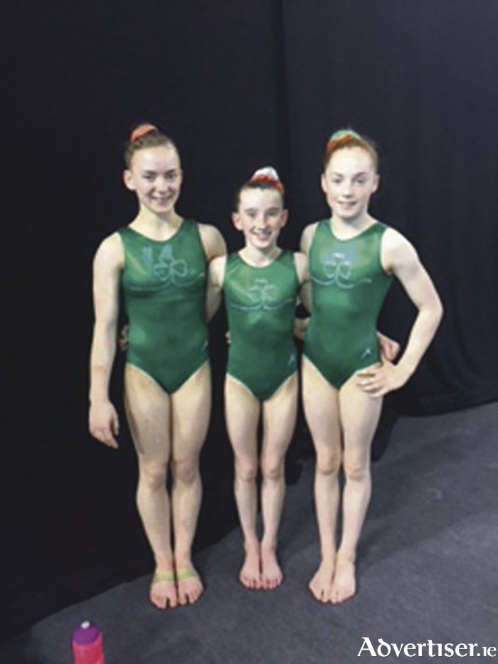 Irish Gymnastics Team (L-R): Meg Ryan (Cork), Jane Heffernan (RGC Galway), and Emma Slevin (RGC Galway).