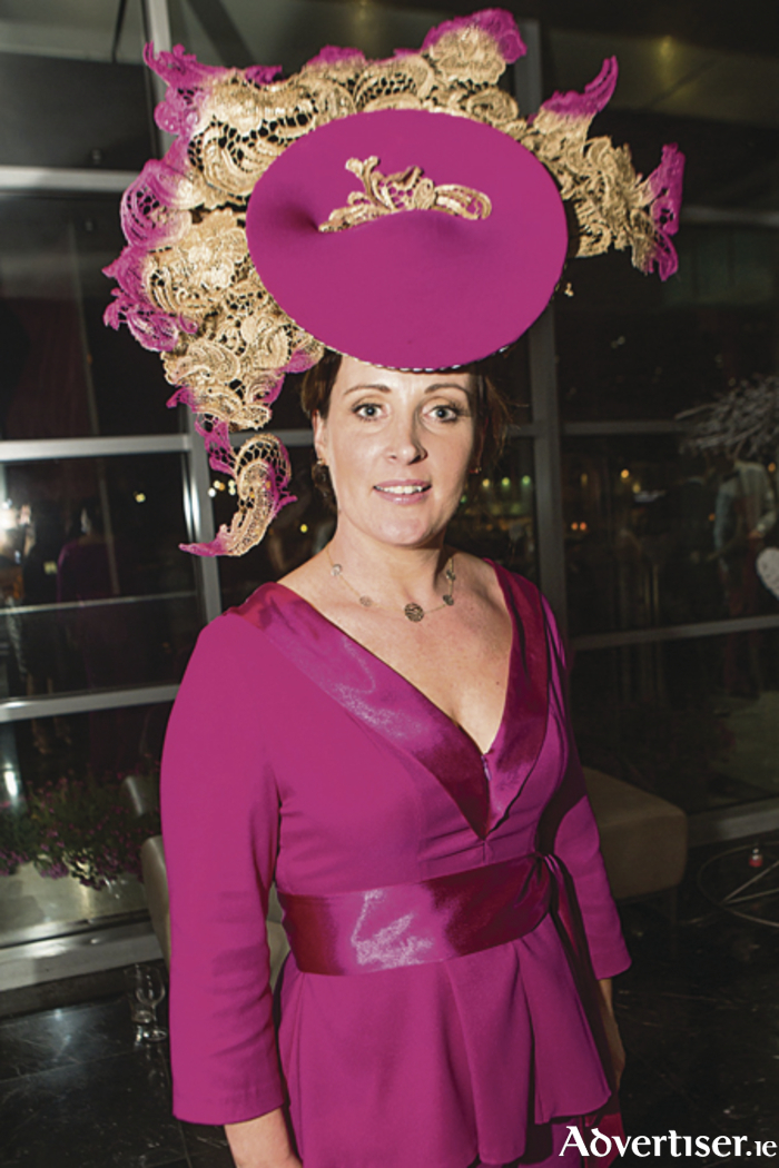 Milliner Caithriona King pictured at The g Hotel Best Hat and Most Stylish Man Ladies' Day Apres Party. Photo: Martina Regan.