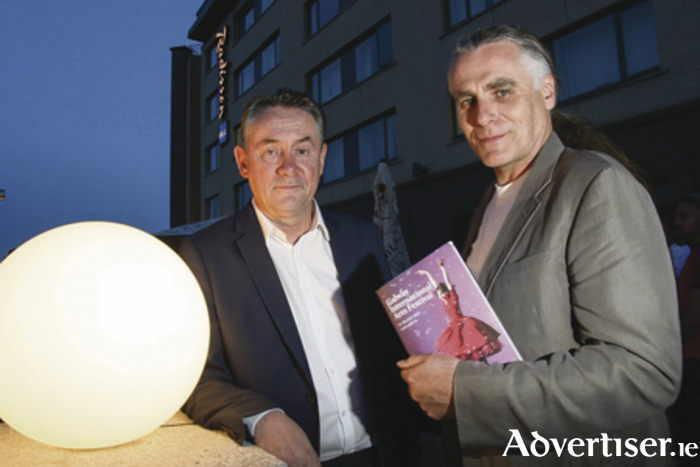 John Crumlish and Paul Fahy at the opening of the Galway International Arts Festival at the Radisson Blu Hotel on Monday night. Photo:- Mike Shaughnessy