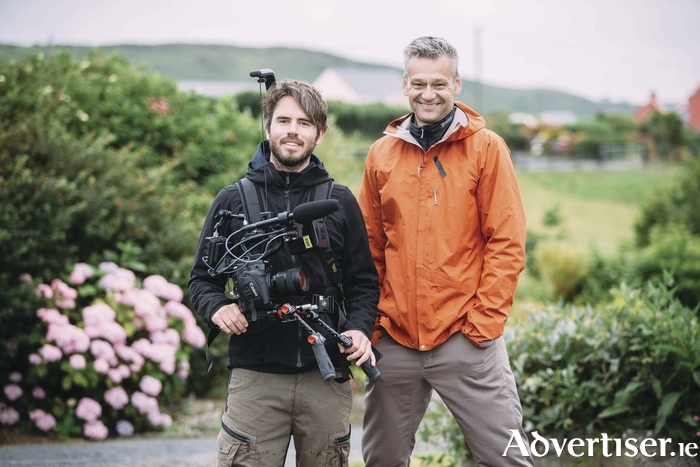 Cameraman Alex Bolevin (left) and presenter Joachim Vogel, during filming for Swedish TV show Go'kvall. Photo:- Eamon Ward