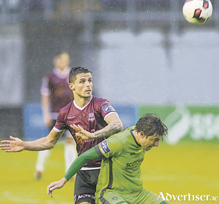 Galway United's goal scorer Gavan Holohan puts pressure on Drogheda's Jake Hyland in action from the SSE Airtricity League clash at Eamonn Deacy Park on Saturday. Photo:- Mike Shaughnessy