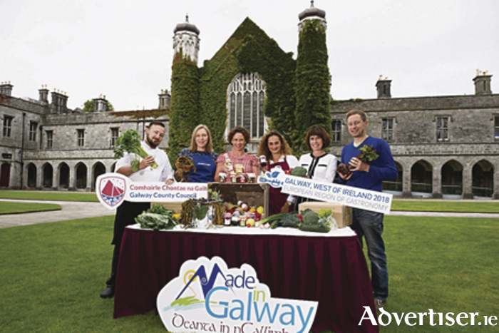"Galway County Council's ""Made in Galway"" food producers forge strategic association with NUI Galway ahead of European Region of Gastronomy 2018. Pictured are Norbert Rojek, sous chef of Masterchefs; Catherine Nee of Marty's Mussels; Catherine McConnell, director of services Galway County Council; Magaly Murray of Gran Grans Foods; Ann Duggan, commercial manager, NUI Galway;  and  Kenneth Keavey of Green Earth Organics.  Photo: Andrew Downes, xposure ."