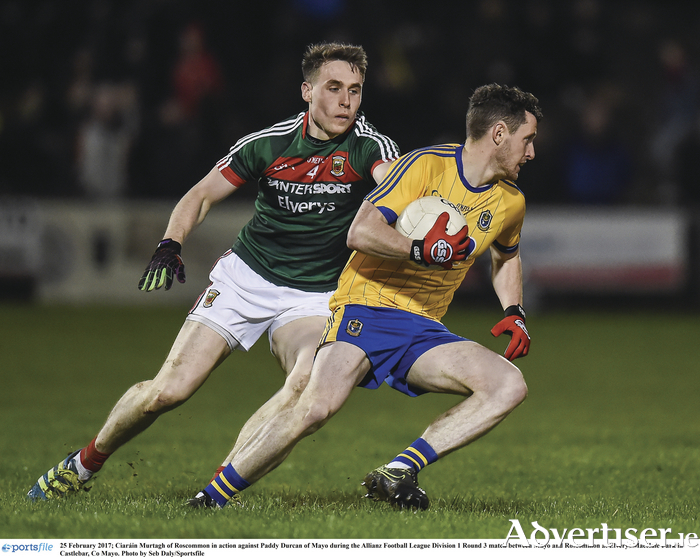 Keeping close tabs: Mayo will have to keep a close eye on Ciaran Murtagh and the Roscommon attack on Sunday. Photo: Sportsfile