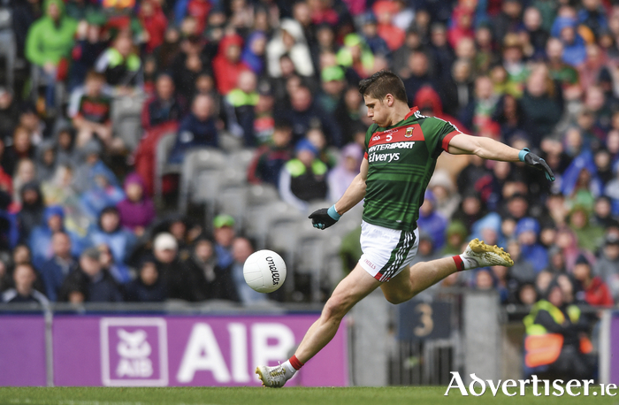Letting fly: Lee Keegan hits his shot which ended up in the back of the net to bring Mayo back into the game against Roscommon. Photo: Sportsfile