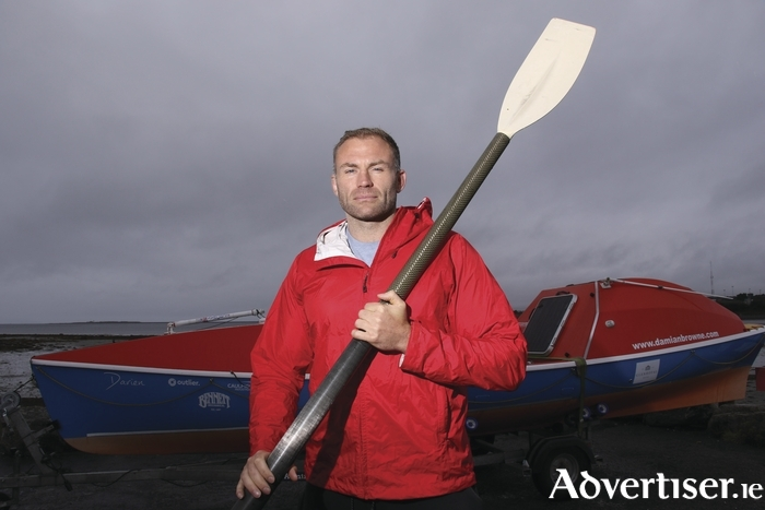 Former Connacht Rugby player and now adventurer, Damian Browne, with his boat in which he will cross the Atlantic solo this December in the Atlantic Challenge. 					Photo:-Mike Shaughnessy