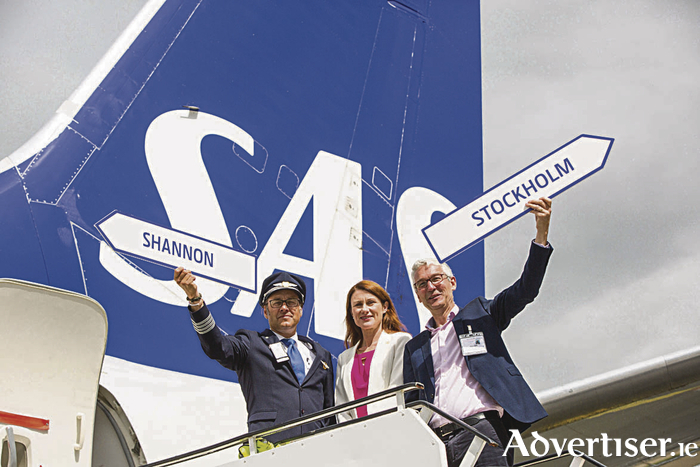 Conny Ornell, captain SAS airlines, Mary Considine, deputy CEO, Shannon Group, and Alan Sparling, MD of ASM Ireland, at the commencement of Scandinavian Airlines' twice weekly service to Shannon from Stockholm.