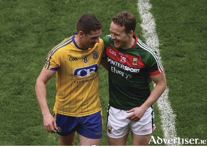 Andy Moran and Fintan Cregg embrace after the full-time whistle last Sunday. Photo: Sportsfile