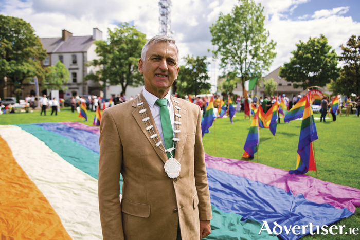 The Cathaoirleach of Castlebar Municipal District, Councillor Martin McLoughlin, led the Mayo Pride Parade. Photo: Ger Duffy Photography.