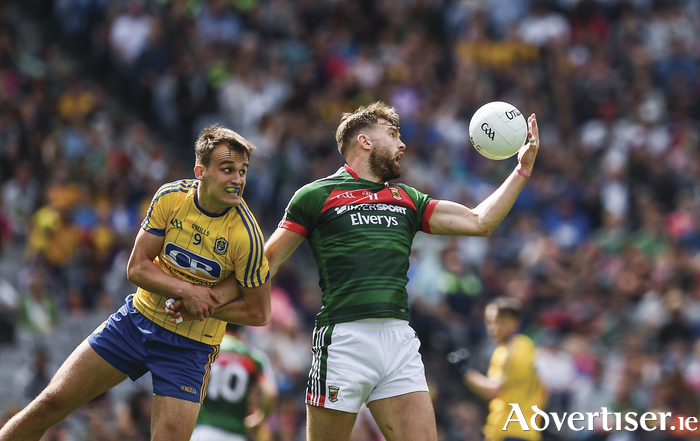 The one armed man: Aidan O'Shea field the ball in the air one handed. Photo: Sportsfile