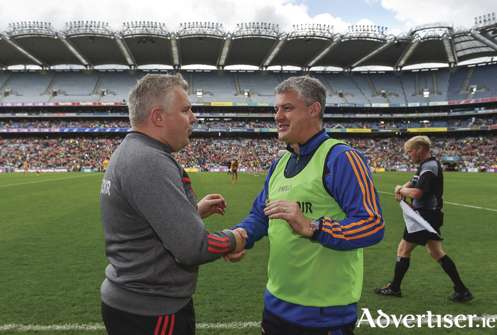 The winning hand handshake: Stephen Rochford and Kevin McStay shake hands at full time. Photo: Sportsfile