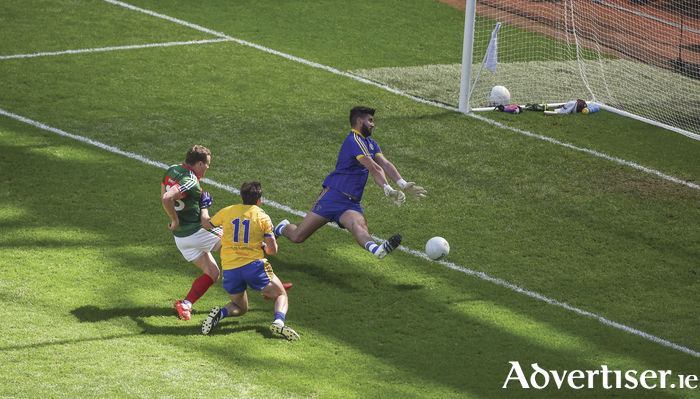 Done and dusted: Andy Moran scores Mayo's goal against Roscommon last Monday. Photo: Sportsfile