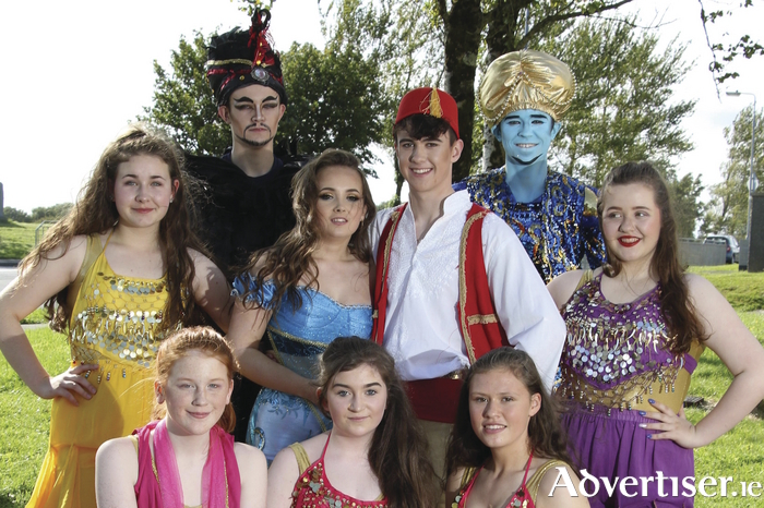 Cast members of Twin Productions's Aladdin jr - The Musical: Jessica McDonagh, Keith Hanley, Emily Macken, Niall Caulfield, Michael Healy and Alex Healy (front row) Blánaid Molloy, Sarah Murphy and Aisling Carroll. Photo:- Mike Shaughnessy