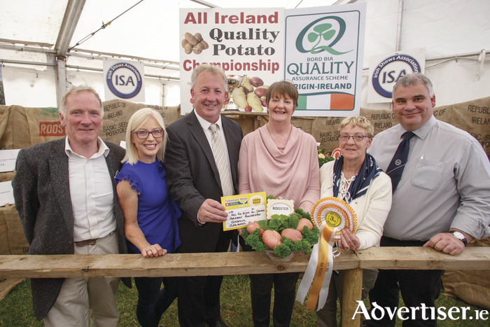 Claremorris's Margaret Prendergast claimed third place in the Bord Bia All Ireland Quality Potato Championships for her local potatoes. The competition, held at the Tullamore Show, is designed to increase the level of awareness among growers of what constitutes a good quality potato. It is estimated that a total of 9,800 hectares of potatoes are grown by an estimated 540 growers in Ireland.