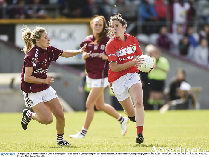 Ciara O'Sullivan in action against Sinead Burke during the TG4 Ladies Football All-Ireland Senior Championship quarter-final match between Cork and Galway at Cusack Park in Westmeath. Photo by Matt Browne/Sportsfile.