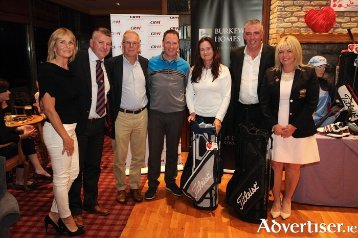 Clare and Tom Cunningham, Bearna Golf Club, Croí chairman Kevin O'Reilly, prizewinners Imelda and Danny McGovern, Mike Burke of Burkeway Homes and Lady Captain Ailis McDermott at the Croí Heart and Stroke Charity Golf Fundraiser sponsored by Burkeway Homes at Bearna Golf Club. Photo: Brian Harding.