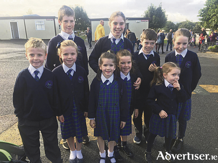 Nine cousins in the one school - The Keanes from Rahoon start back to school  in Gaelscoil Mhic Amhlaigh yesterday - Front row Conor and Ella, Roisín, Emily, Niamh. Back row James, Rachel, Matthew, and Sinead.