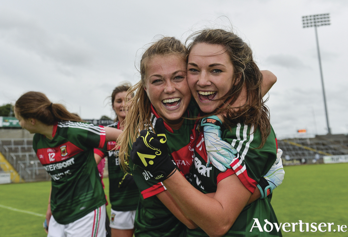 Final bound: Sarah Rowe and Niamh Kelly celebrate at full-time as Mayo booked their place in the All Ireland final. Photo: Sportsfile.