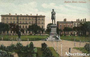 A postcard showing Lord Dunkellin's statue in Eyre Square.