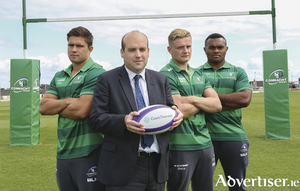Aengus Burns, partner in Grant Thornton's Galway office, with Connacht Rugby players Dave Heffernan, Steve Crosbie, and Naulia Dawai after announcing the continued sponsorship of the Grant Thornton seated stand at the Galway Sportsground.   Photograph:  Aengus McMahon