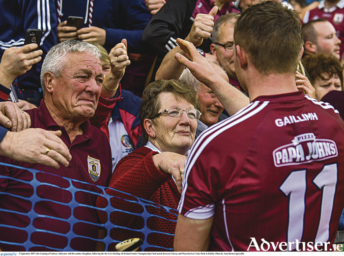 Joe Canning of Galway celebrates with his parents