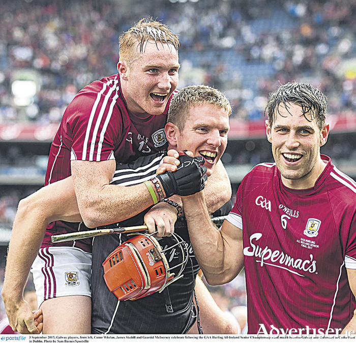 Galway players, Conor Whelan, James Skehill and Gearóid McInerney.