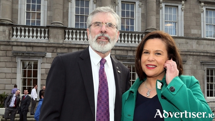 Current Sinn Féin president Gerry Adams and the likely next SF leader to be (in the Republic) Mary Lou McDonald.
