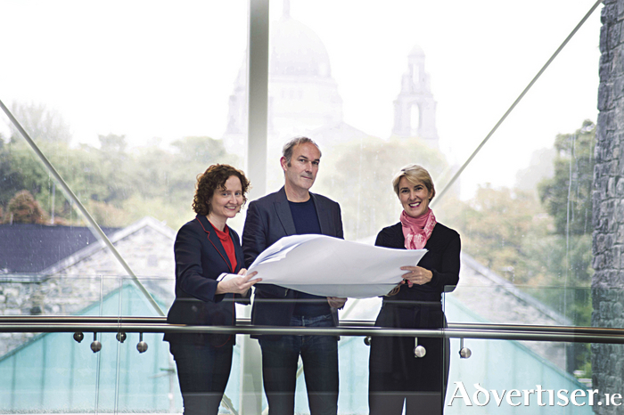 Announcing the programme for the inaugural Architecture at the Edge festival which takes place in Galway and Mayo from September 29 to -  October 1  were Helena McElmeel, Programming and Edible Architecture, Frank Monahan, Festival Director and Sybil Curley, Placemaking Symposium,  Photo:Andrew Downes, xposure