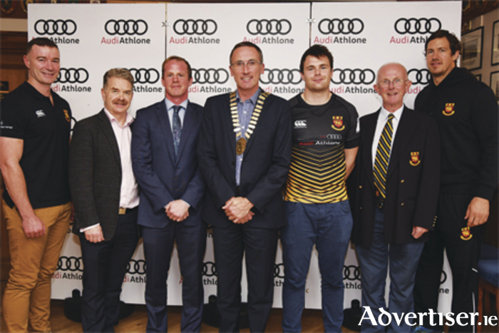 Audi Athlone will continue to sponsor Buccaneers RFC for a seventh season. Pictured are head coach Darin Classen, Ciaran O'Cathain (director AIT), Michael Moore Jnr (Audi Athlone), Athlone Mayor Aengus O'Rourke, captain Shane Layden, club secretary Michael Cleary, and assistant coach Mike McCarthy.