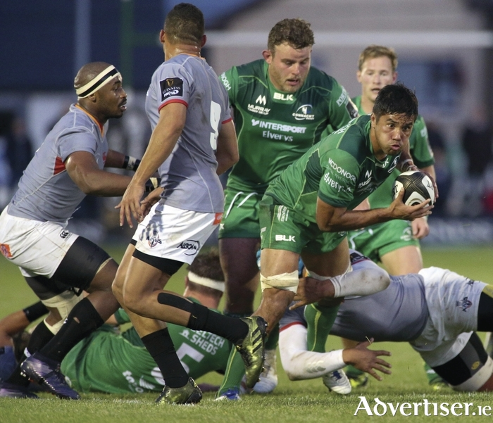 Connacht's Jarrad Butler supported by Finlay Bealham in action against the  Southern Kings  at the Sportsground.            Photograph: Mike Shaughnessy