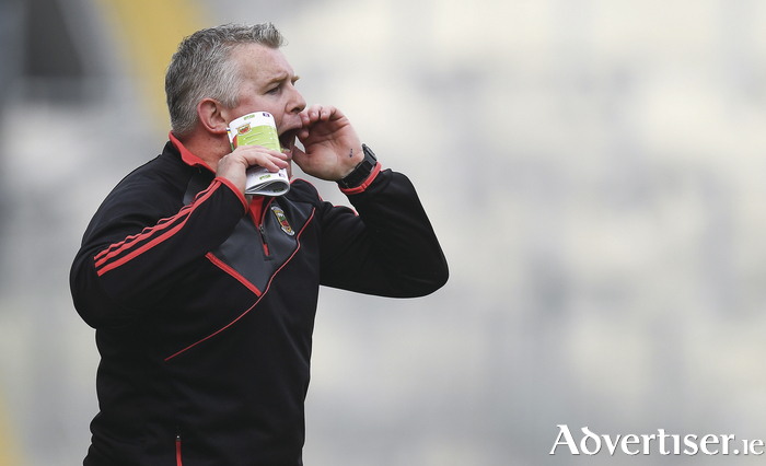 Passing on instructions: Stephen Rochford is ready to take on the challenge of beating Dublin on Sunday. Photo: Sportsfile