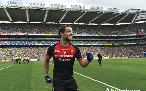 The smile of success: Tom Parsons celebrates Mayo's win over Kerry in the All Ireland semi-final. Photo: Sportsfile