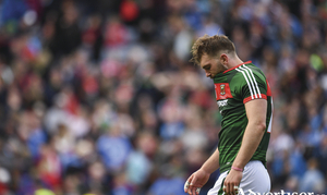 Hard to take: Aidan O'Shea takes it in after the full-time whistle went in Croke Park. Photo: Sportsfile