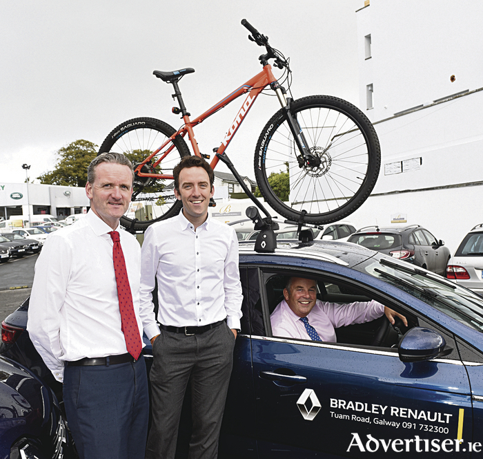 Pictured at the launch of the partnership at the Bradley Renault Showrooms on the Dublin Road in Galway are (L to R) Robert Bradley,  Bradley Renault; Justin McDermott of Jigsaw; and Enda Cantrell, Bradley Renault.