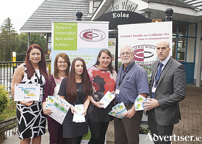 Pictured at the Learning for Life Autumn Roadshow at Peacocke's of Maam Cross last week were Galway Rural Development SICAP team members Clara Cashman, Freeda Garman, Nora Ui Cheannabháin, Deirdre Nic Dhonncha, Gearóid O Fatharta, and Micheal MacDonnchadha. People who are unemployed are invited to attend this event on Thursday September 28 in The Ard Rí Hotel, Tuam, or on Wednesday October 4 in The Shearwater Hotel, Ballinasloe. Photo: Michael Burke.