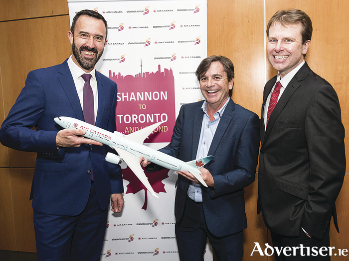 Pictured at the announcement yesterday were Andrew Murphy, Managing Director, Shannon Airport, Declan Power, Head of Aviation Development, Shannon Airport, and Matthew Thomas, CEO, Shannon Group
