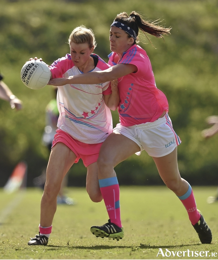On tour: Fiona McHale in action in the 2016 All Star game, she headed of travelling for five months earlier this year before returning to the Mayo colours. Photo: Sportsfile.