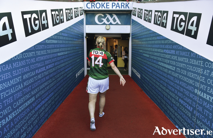 A legend leaves the stage for now: Cora Staunton heads down the tunnel after Mayo's loss to Dublin. Photo: Sportsfile