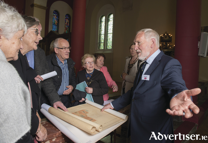 Last Friday saw celebrations of the centenary of the construction of St Patrick's Church in Newport which  was built by John Sisk & Son 100 year ago. Hal Sisk of John Sisk and Son Ltd talk to Newport parishioners about the history and building of the Newport church by his ancestors. Photo: Michael McLaughlin
