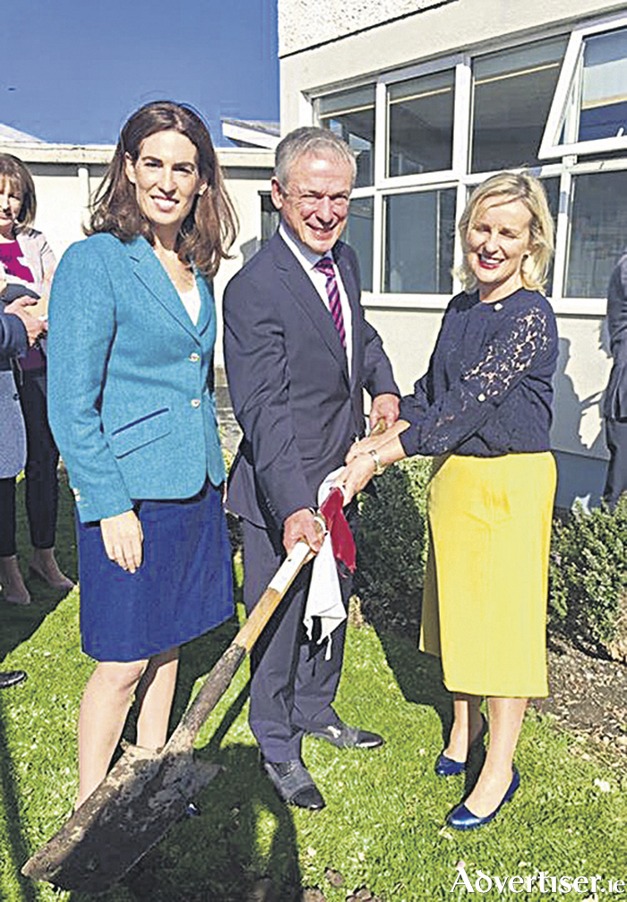 Pictured at the sod turning of the new school at Scoil Mhuire; Deputy Hildegarde Naughton TD, Minister for Education and Skills Richard Bruton TD and principal of Scoil Mhuire, Oranmore, Edel Kearney.