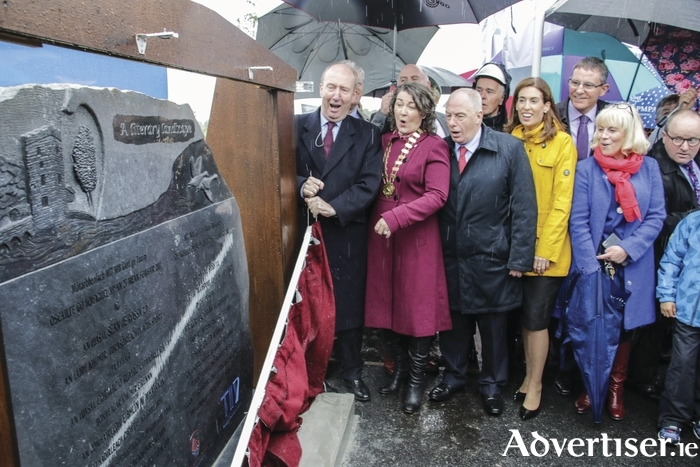 Mad for road — Transport Minister Shane Ross pictured with Cllr Eileen Mannion Cathaoirleach of Galway County Council and Rural and Community Development Minister Michael Ring at the opening of the M17 Tuam to Gort Motorway on Wednesday morning. Photo:- Mike Shaughnessy
