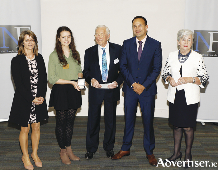 Ethna Benson, mother and chemistry teacher, Aisling Benson from Our Lady's Bower, Athlone, Martin Naughton, an Taoiseach Leo Varadkar, and Carmel Naughton at the 2017 Naughton Foundation Scholarship Awards held at Trinity College Dublin. Photo: Kieran Harnett
